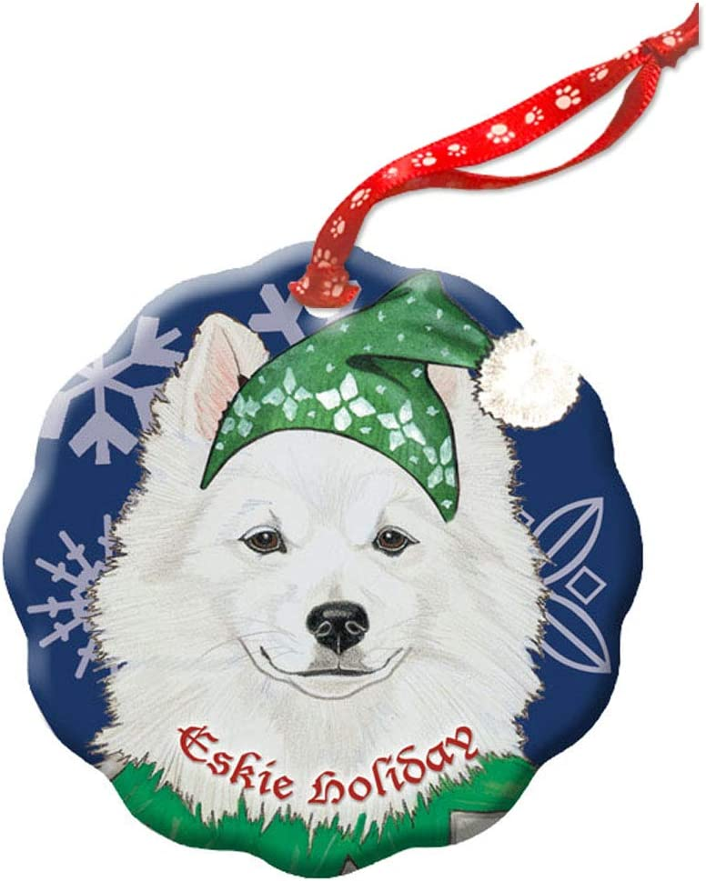 Amazon Com Pipsqueak Productions American Eskimo Eskie Dog Holiday Porcelain Christmas Tree Ornament Furniture Decor