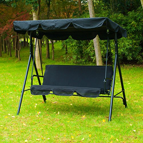 Patio Swing Chair 3 Person Water Resistant Polyester Canopy Outdoor Garden Hammock Canopy Awning Bench Seat Black - Diego San Outlet Near