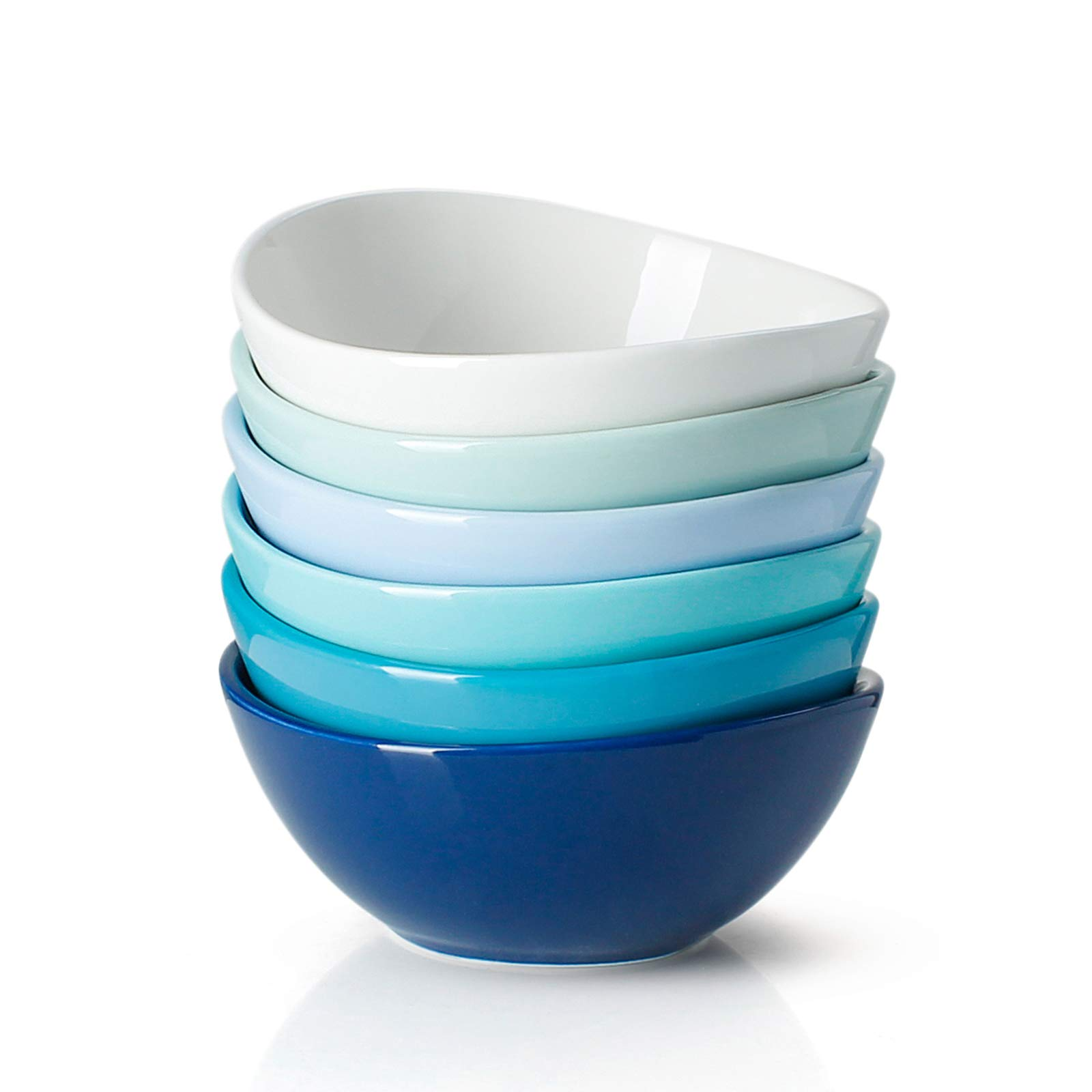 Sweese 101.003 Porcelain Bowls - 10 Ounce for Ice Cream Dessert, Small Side Dishes - Set of 6, Cool Assorted Colors