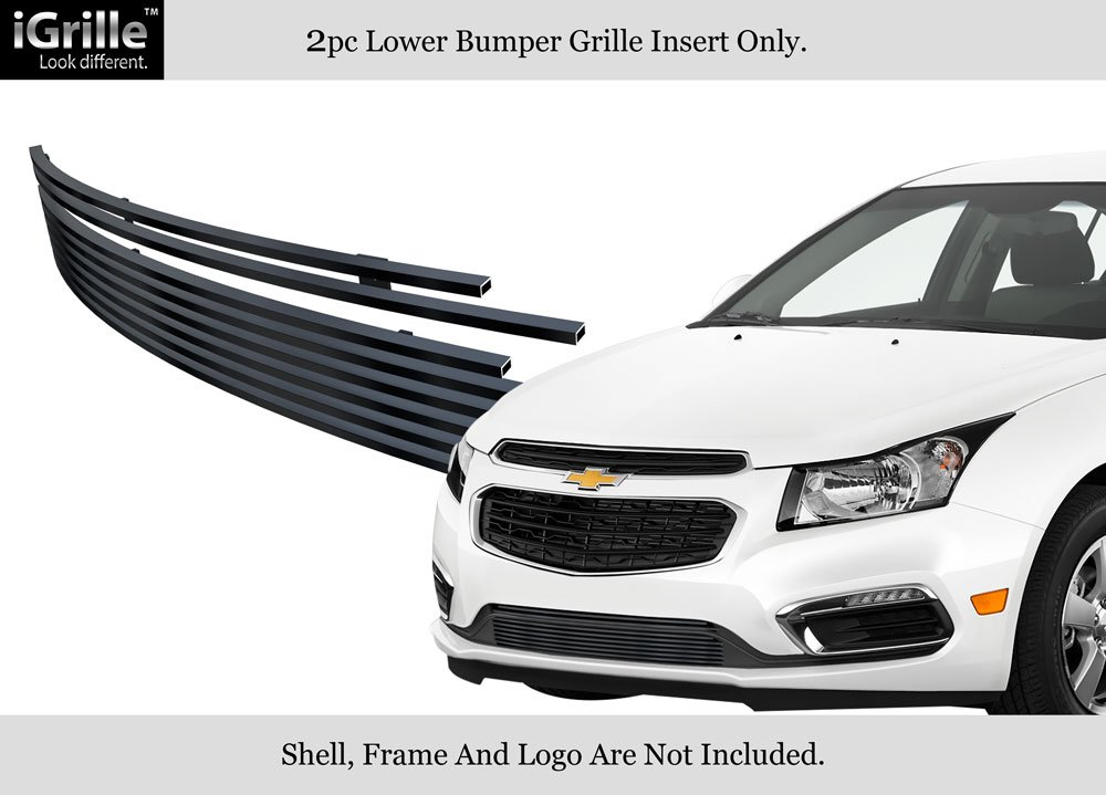 APS for 2015-2015 Chevy Cruze Lower Bumper Stainless Black Billet Grille Insert #N19-J34366C