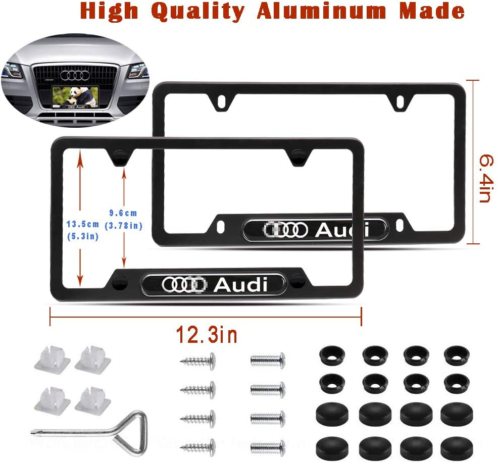 for Benz Car concentration camp 2Pcs 4 Holes Black Aluminum Alloy License Plate Frames for Mercedes Benz with Screw Caps Set