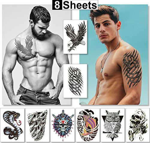 Large Temporary Tattoos For Guys For Men Boys & Teens Fake Tattoo Stickers (8 Sheets) Transfers For Arms Shoulders Chest Back & Legs Eagle Koi Fish Skull Gun Owl Tattoo Realistic Waterproof Tattoos ()