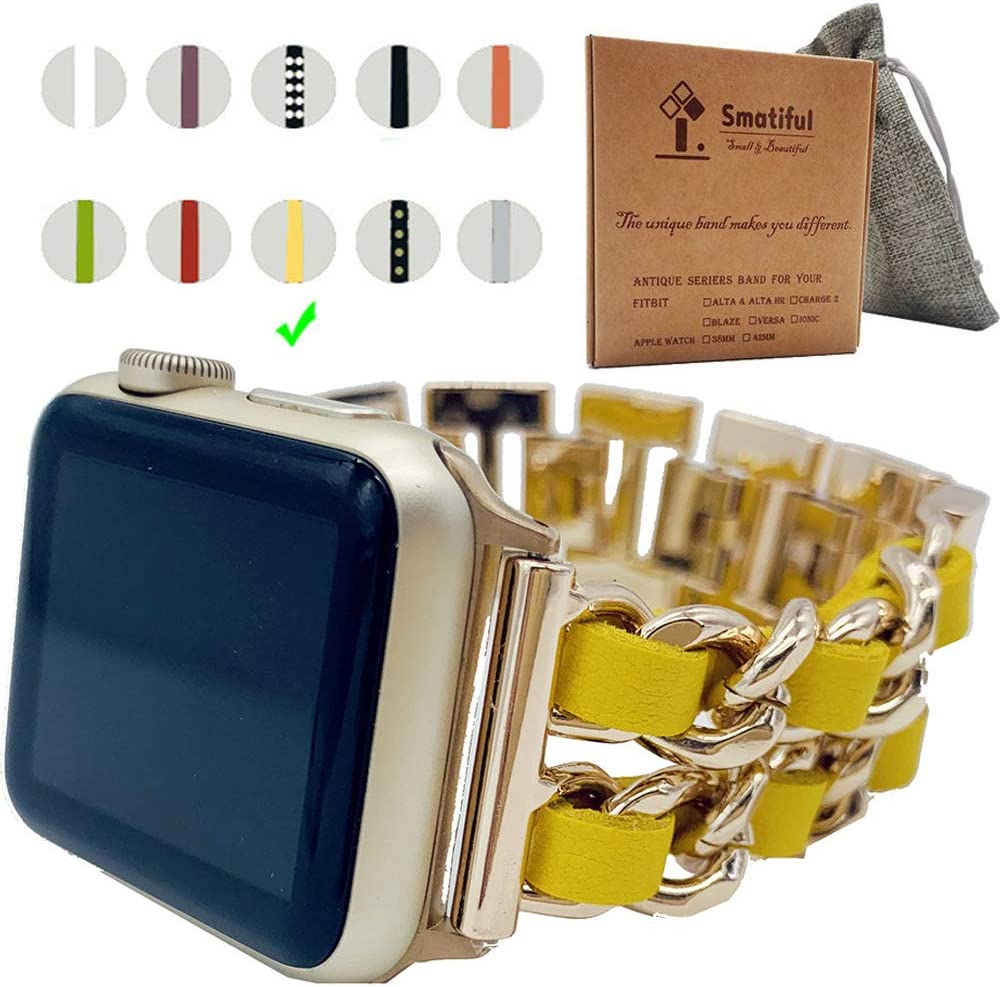 Smatiful Pride Bands with Vintage Box Pack for Women,Sport Wristband Compatible with Apple Watch Series 1/2/3/4/5 38mm 40mm,Rose Gold Chain with Pale Yellow Belt