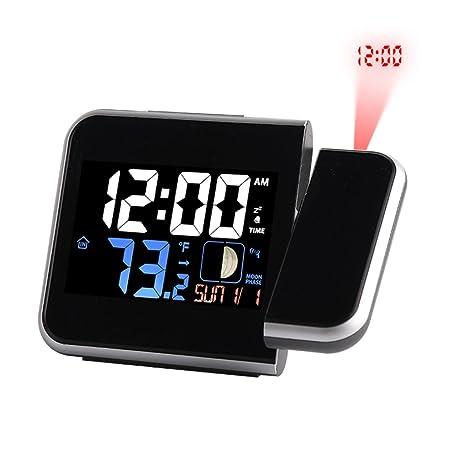 IVHJLP Reloj de Alarma electrónico, proyector Digital, Reloj ...
