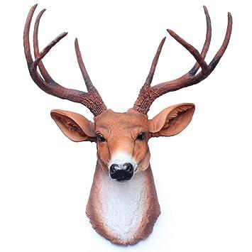 Perchero montado en la pared Faux Deer Cornetas Cabeza ...