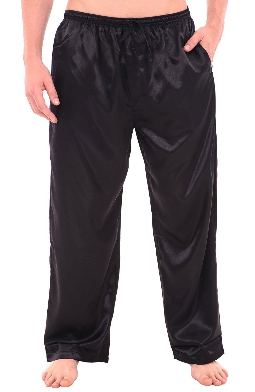 Alexander Del Rossa Mens Satin Pajama Pants, Long Pj Bottoms, Large Black (A0757BLKLG)