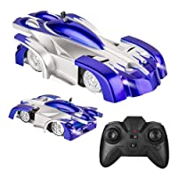 Electric Wall Climber Climbing RC Car, Remote Control Car, Dual Mode 360°Rotating Stunt Car with Remote Control, Head and Rear LED Lights, USB Cable, Boy Kid Toys, Zero Gravity Car for Kids(Blue)