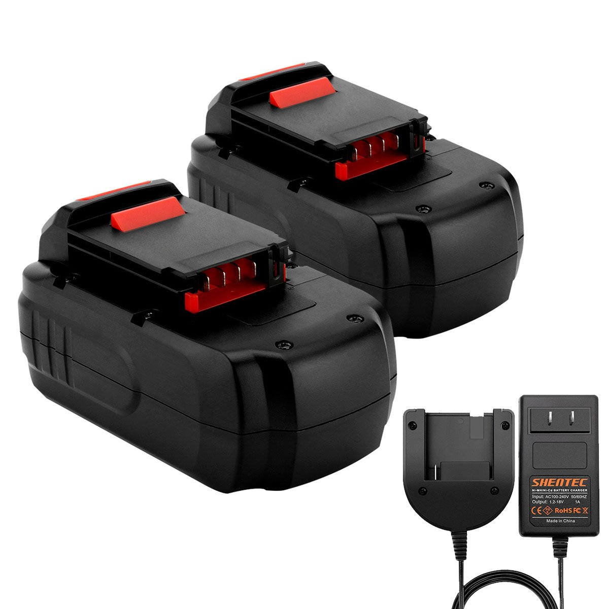 Shentec 2 Pack Ni-MH 3000mAh 18V Battery Compatible with PORTER-CABLE PC18B PCC489N PCMVC PCXMVC (Ni-MH/Ni-Cd Battery Charger Include)