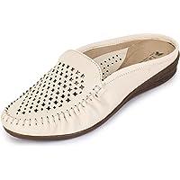 La Shades 014, Cream Designer Slip On Doctor Shoes for Women