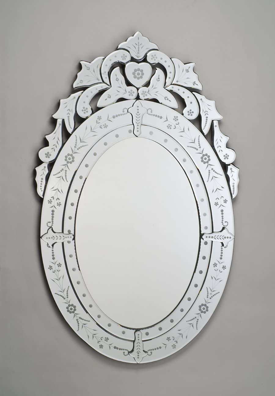 Venetian Oval Wall Mirror In Cut Etched Glass Mirror Frame Amazon Co Uk Kitchen Home