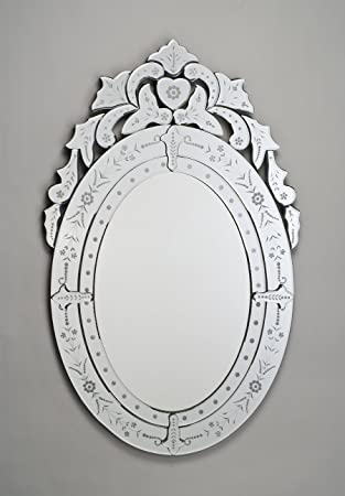 venetian oval wall mirror in cut u0026 etched glass mirror frame