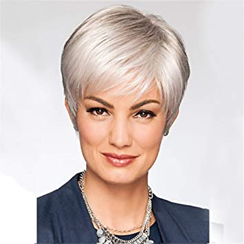 Amazon.com: KAWIGS Short Straight Wigs with Bangs Silver ...