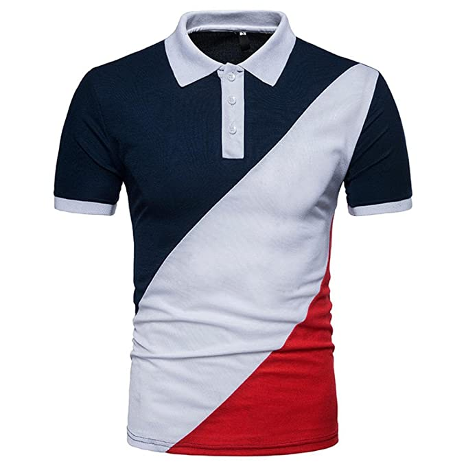b11a6097 GREFER Men's Lapel Casual Slim Patchwork Short Sleeve T Shirt Top Polo Shirt  at Amazon Men's Clothing store: