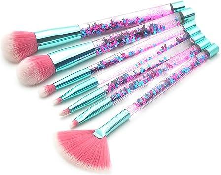 Beito 7 pinceles de maquillaje con brillo, pinceles de resaltador profesional, corrector, Kit de brochas de maquillaje Pincel con purpurina y purpurina(Mango verde + pelo rojo): Amazon.es: Belleza