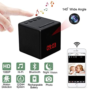 Camara Espia Oculta LXMIMI Mini Camara WiFi Reloj de Tiempo Bluetooth Música Altavoz 1080P HD Gran