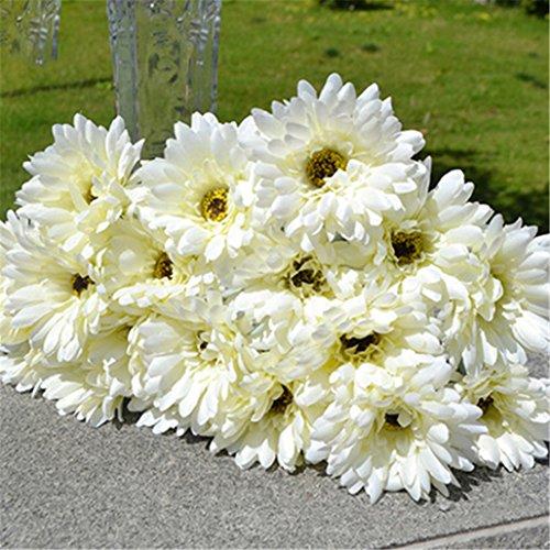 super1798 1 Pc Artificial Silk Gerbera Daisy Flower Wedding Party Home Decor - - Daisy White Single
