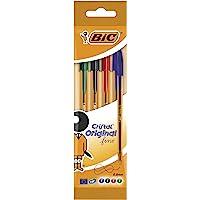 BIC Cristal Original Fine - Bolígrafos punta fina (0.8 mm), Blíster de 4 unidades, Colores Surtidos