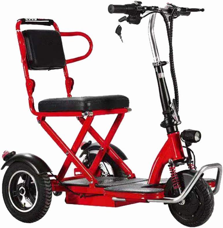 BR Movilidad Reducida Triciclo Scooter Electrico Litio Portátil para Discapacitados Ancianos Batería Coche con Faros LED Marco de Acero,20ah