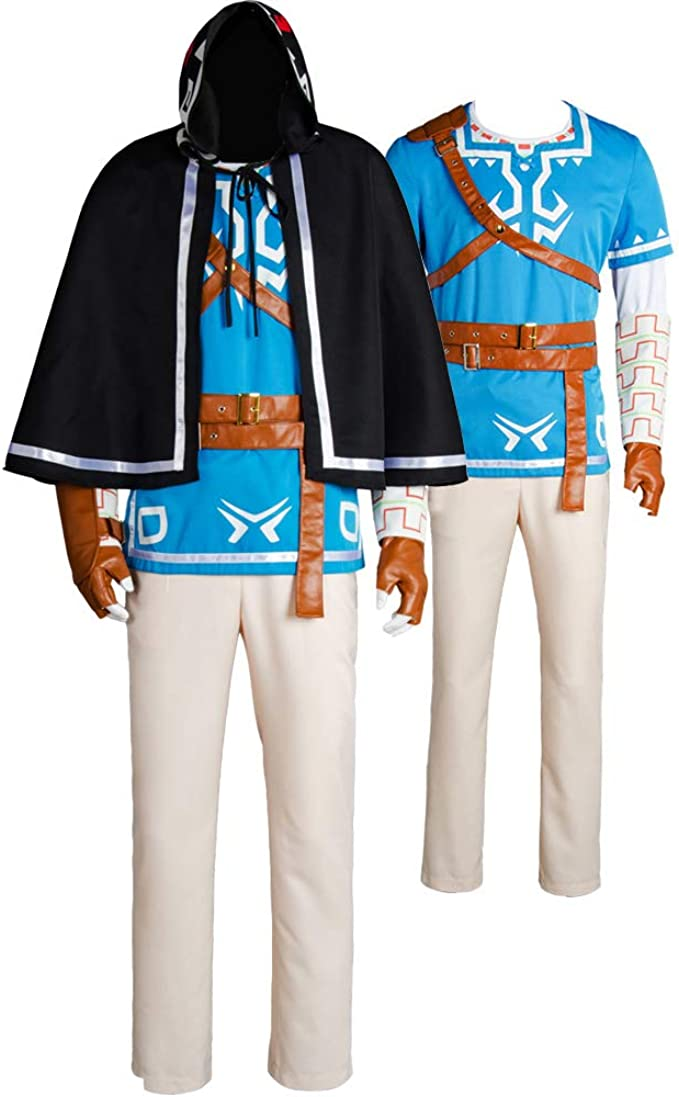 Ya Cos The Legend Of Zelda Breath Of The Wild Link Cosplay Uniform Suit Costume Outfit Blue Full Set