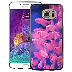 A-type Arte & diseño plástico duro Fundas Cover Cubre Hard Case Cover para Samsung Galaxy S6 (Fish Tropical Diving Blue Pink Coral Reef)