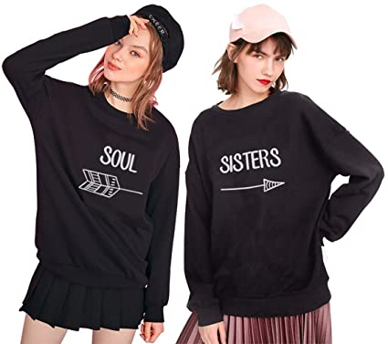 Matching Sweatshirts Best Friend BFF Sisters Print Juniors Pullover Graphic Long Sleeve Black Sweater(BK