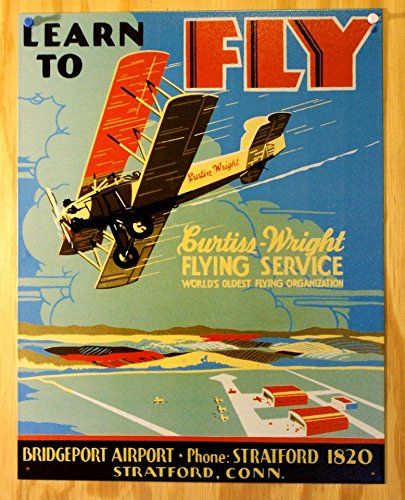 Learn To Fly Bi Wing Airplane Retro Vintage Tin Sign Tin Sign , 13x16 (Wings Sign Tin)