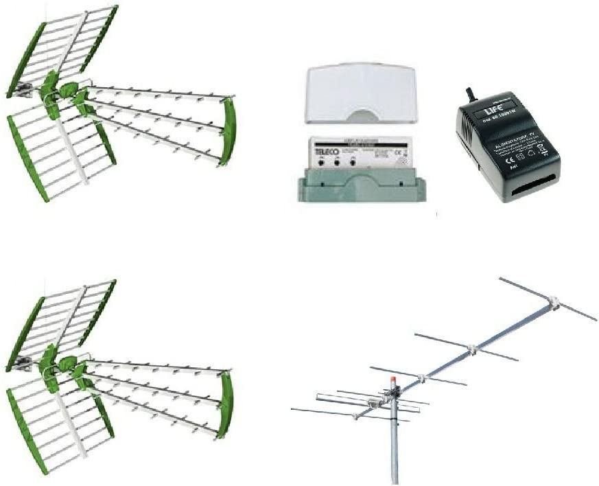 Kit antena digital terrestre DVBT 2 antenas UHF + 1 antena ...
