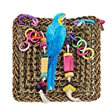 Keersi Straw Braid Rope Climbing Hammock Ladder Bird Foraging Wall Toy Large Parrot Cockatoo African Grey Macaw Eclectus Amazon Parakeet Cockatiel Conure Lovebird Budgie Finch Canary Cage Perch Stand