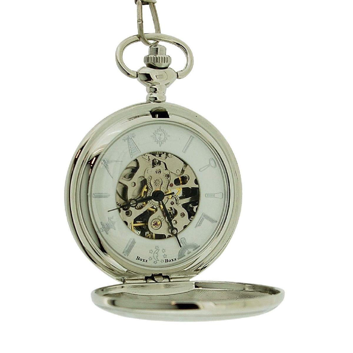 b7a1c9145 Boxx Gents Silver Tone Masonic Mechanical Pocket Watch on 13 Inch Chain  BOXX354: Amazon.co.uk: Watches