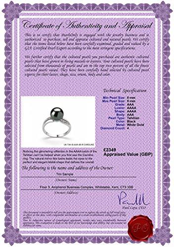 Noir 8-9mm AAA-qualité de Tahiti 585/1000 Or Blanc-Bague perles