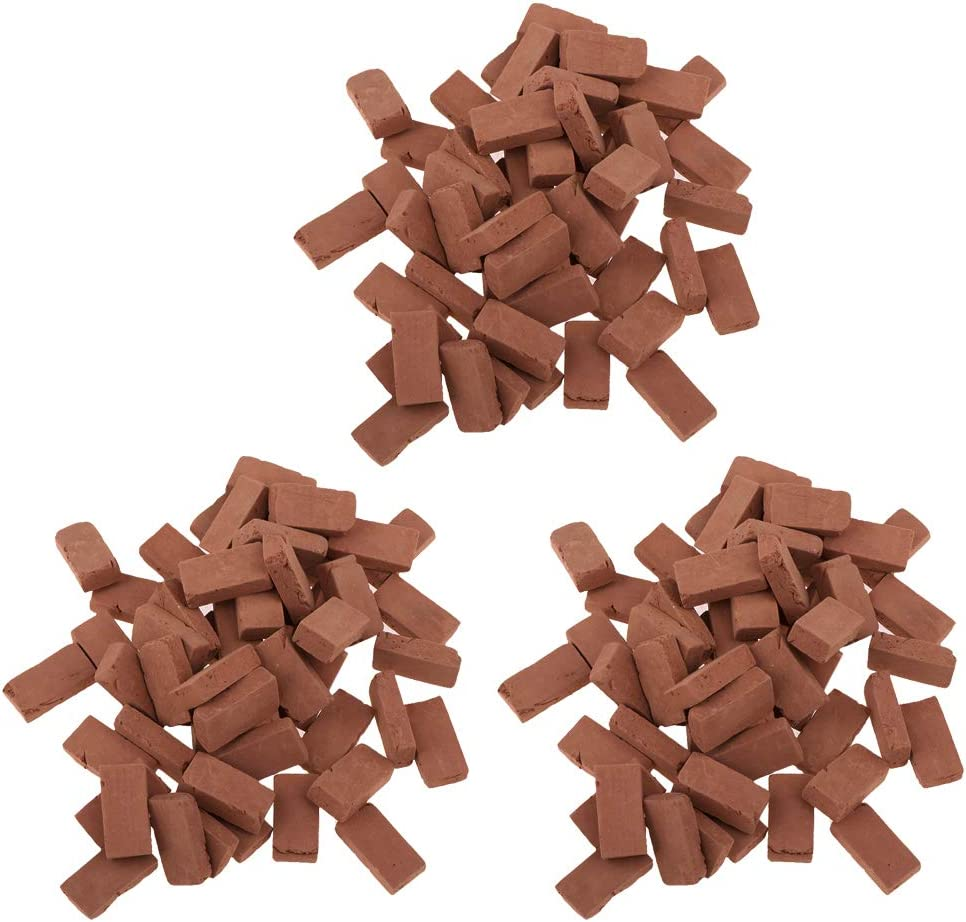 Hiawbon 300 Pcs Mini Red Wall Bricks Model Brick Building Set Dollhouse Miniature Bricks Diorama Landscaping Accessories DIY Dollhouse Bricks Diorama Fairy Garden,1/35 Scale