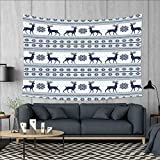 smallbeefly Nordic Customed Widened Tapestry Pixel Art Style Christmas Pattern with Reindeer and Snowflake Motifs Wall Hanging Tapestry 90''x60'' Dark Blue Pale Blue White