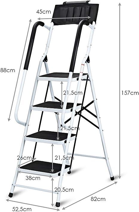 costway Escalera escalera escalera escalera escalera HYMER – Escalera 4 peldaños plegable con pasamanos Barra de seguridad seguro para plegar metal: Amazon.es: Bricolaje y herramientas