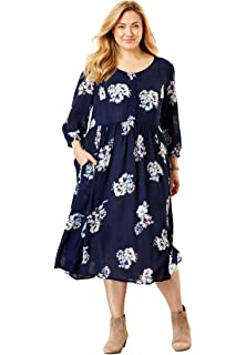 41c88fd366d Woman Within Plus Size Crinkle Dress at Amazon Women s Clothing store