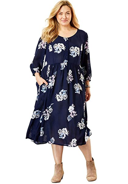 Woman Within Plus Size Empire Crinkle Dress