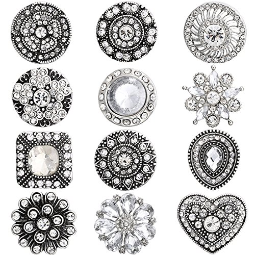 Mix 12 Pieces lot Big Chunky snap Button Jewelry Charm fit 18MM 20MM Snaps for Women (White)]()