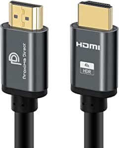 4K HDMI Cable 2M/6.6Feet, Proxima Direct HDMI Cable 2.0a/b High Speed HDR Ultra Full HD 4K@60Hz 4096*2160 Aluminium Alloy Hood Gold Plated Connector HDMI 4K for PS4/5/Xbox360/Mac/HDTV/Projector/PC/TV