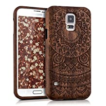 kwmobile Natural wood case with Design Indian sun for the Samsung Galaxy S5/S5 Neo/S5 LTE+/S5 Duos in rosewood Dark Brown