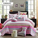 FADFAY Full Size Pink Floral Comforter Sets Kids Patchwork Quilts Princess Girls Pink Quilted Bed Throws Bed Cover Blanket 3Pcs