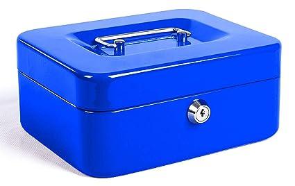 Caja de Efectivo con Bloqueo de Teclas, Caja de Dinero de Metal Portátil con Doble Capa y 2 Teclas para Seguridad 15 * 12.5 * 7.6cm(L, Azul): Amazon.es: Industria, empresas y ciencia