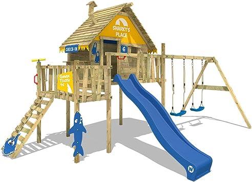 WICKEY Smart Resort Torre de juegos con columpio, tejado de madera, escalera, casa de juego, tobogán azul + lona amarillo-azul: Amazon.es: Bricolaje y herramientas