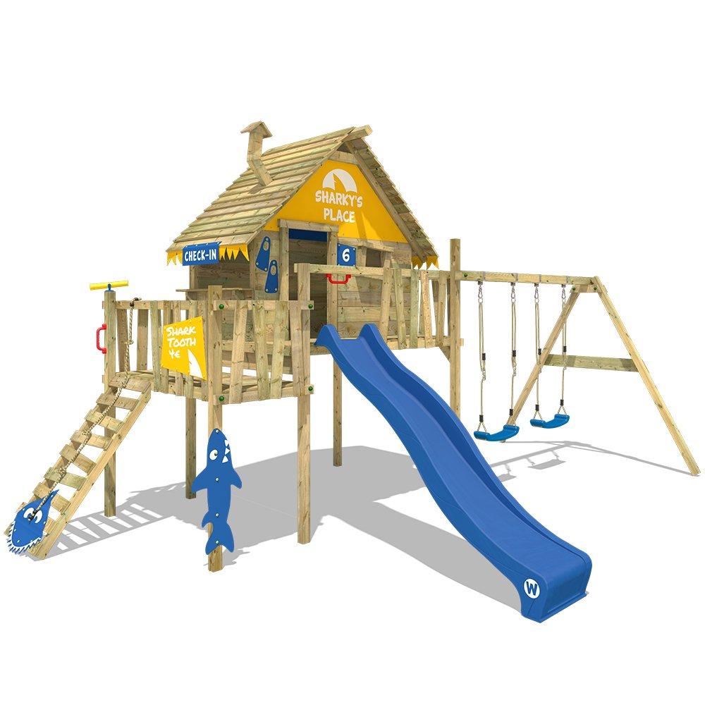 ff66304982e846 WICKEY Aire de jeux Smart Resort Portique bois Tour d escalade avec  balançoire toit en bois echelle à grimper Cabane, toboggan bleu + bâche  jaune-bleu  ...