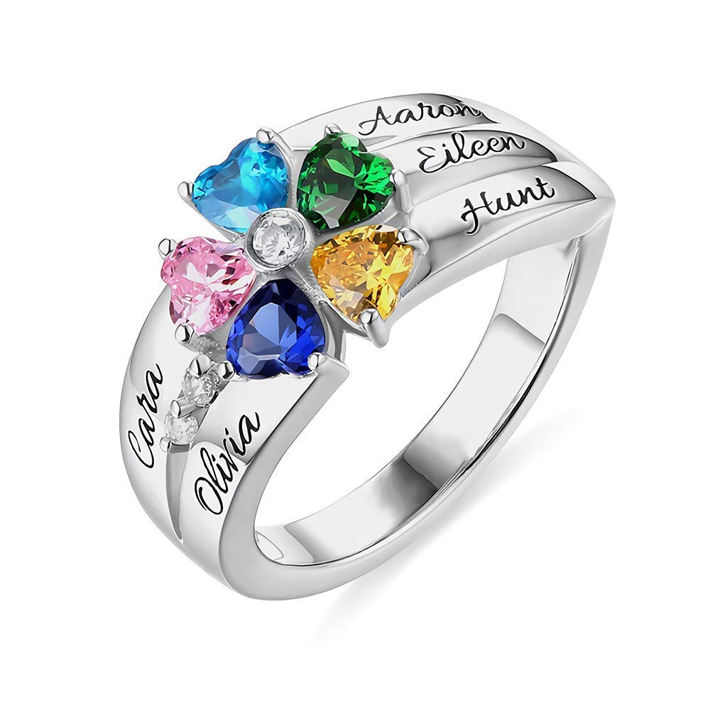 Froshine Sterling Silver Engagement Ring 5 Heart Birthstones 5 Names
