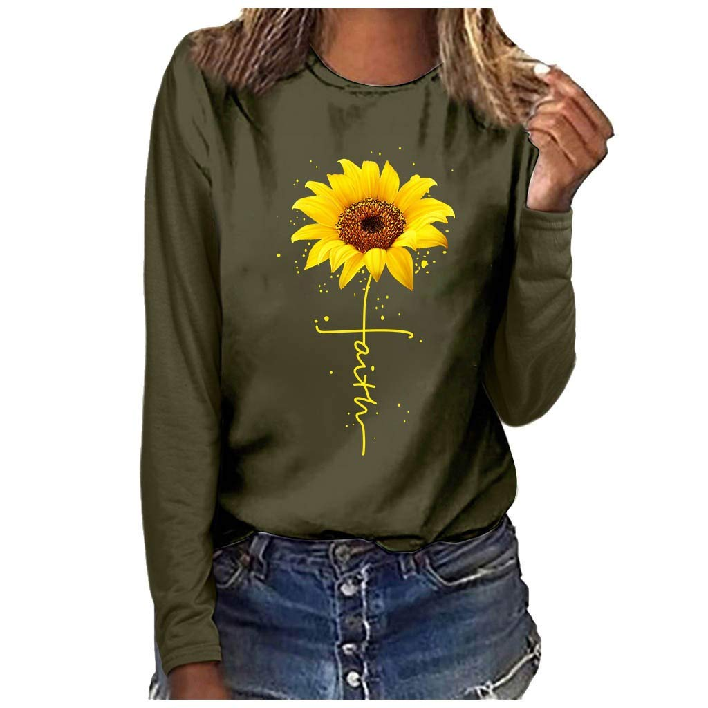 Women O-Neck Blouse Plus Size Sweatshirt Print Long Sleeved T-Shirt Tops Army Green by youeneom