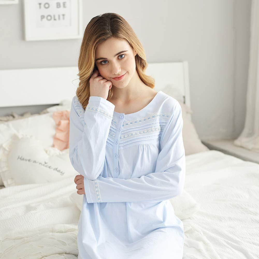 Keyocean Nightgowns for Women All Cotton Soft Long Sleeves Long Nightshirt Sleepwear