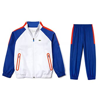 aaa3bded1593a8 Lacoste Taffeta Color Block Tracksuit for Children (White) - 158   Amazon.co.uk  Sports   Outdoors