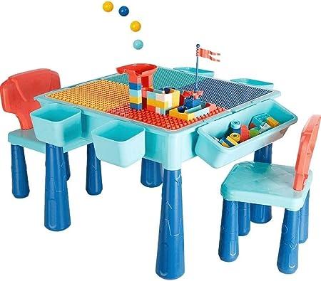 HIZLJJ Juego de Mesa De Actividades Múltiples 5 en 1 para Niños Mesa De Bloques Pequeños Juego de Mesa Juguetes Educativos para Niños Mayores de 3 Años Tamaño 52.5x52.5x43cm Color: Azul: Amazon.es: