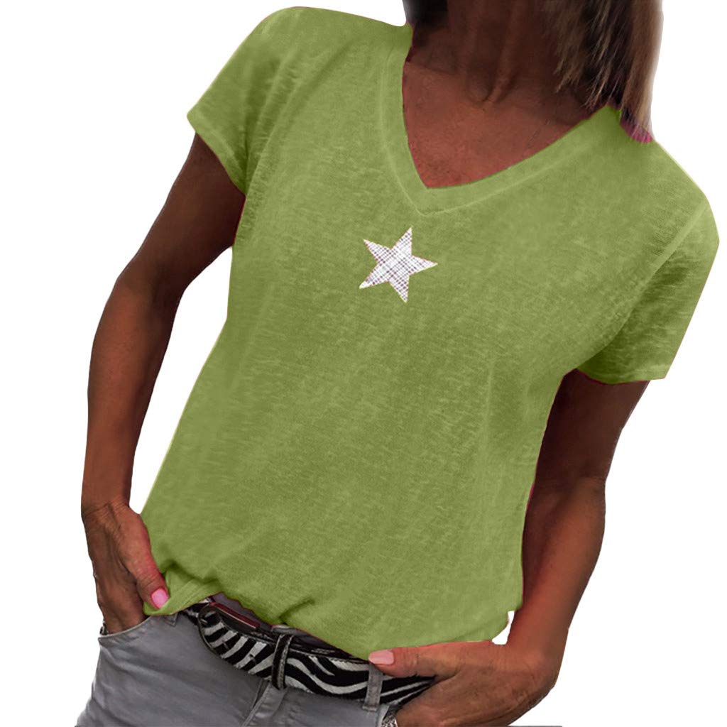 Severkill Womens Casual Cold Shoulder T-Shirt Short Sleeve Tunic Tops Front Star Decor Twist Blouses