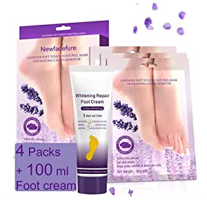 Foot Peel Mask ,Exfoliator Peel Off Calluses Dead Skin Callus Remover, Feet skin Care Spa Baby Soft Smooth Foot Cream for Men and Women-4 pack 100ml