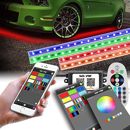 LED Underglow Lighting Kit, Underbody light kit, Under Car Lighting Kit, Multi-Color RGB Strips with Phone APP&Remote&Aluminum ()